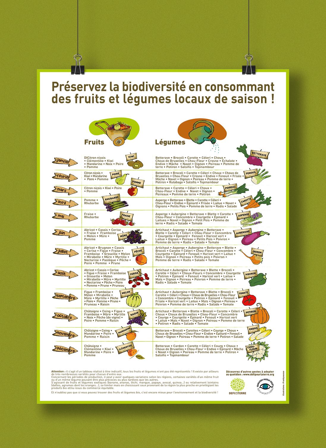Affiche illustrée de la Fondation Nicolas Hulot : tableau des fruits et légumes selon les saisons